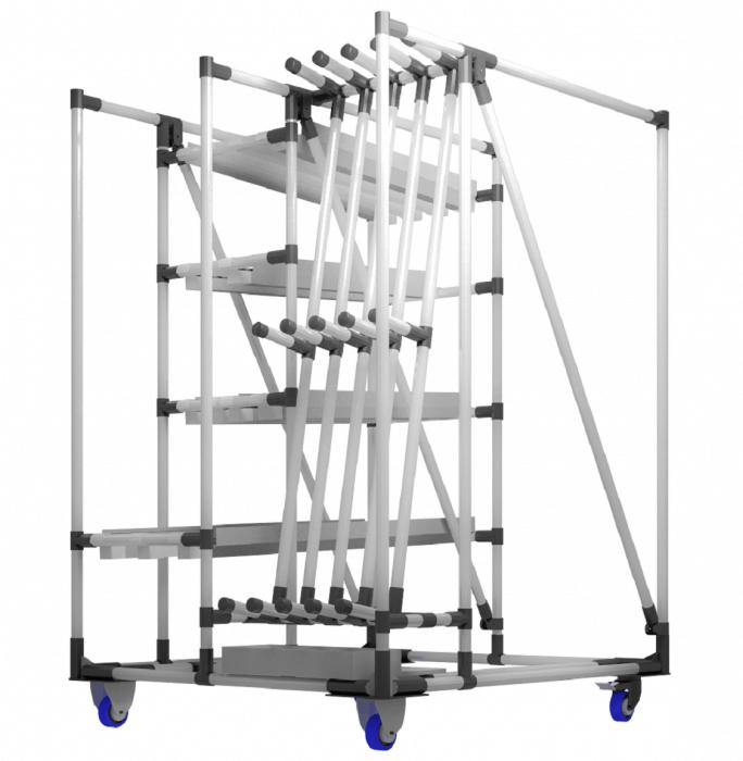 Modulární nosné vozíky obrobků realizované s INDEVA Lean System jsou zvláště vhodné pro přepravu křehkých a hodnotných kusů podél výrobních linek. Díky jejich opakovaně použitelným a přizpůsobitelným komponentům mohou být snadno a rychle přizpůsobeny jakémukoli výrobnímu procesu nebo přemísťovanému produktu.