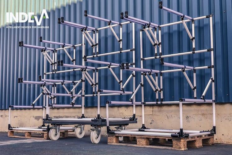 Modulární nosné vozíky obrobků navrhované společností INDEVA jsou ideální pro řešení mnoha problémů a potřeb, které lze zcela přizpůsobit požadavkům.